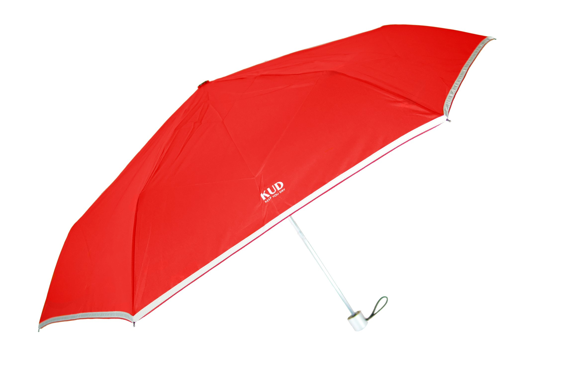 KUD Lightweight Compact travel umbrella with 50 inch Arc large coverage (Red)