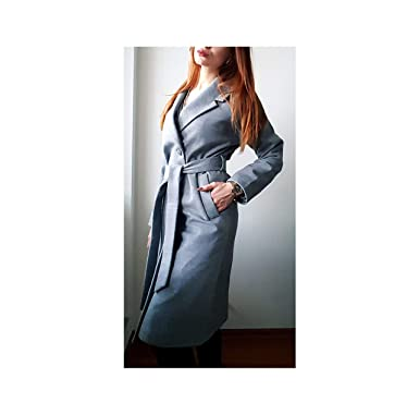 Women Simple Cashmere Look Maxi Long Robe Belted Coat Woolen Outerwear Manteau Abrigos Mujer,Gray