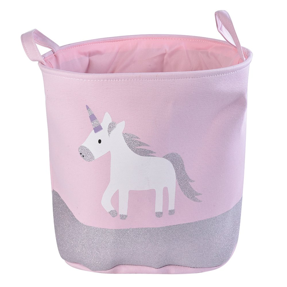 "Urijk Unicorn Toy Storage Basket, Baby Hamper Kid Girl Laundry Basket Nursery Hamper, Waterproof Cute Cartoon Round Canvas Foldable Toy Organizer for Office Bedroom Dorm, Dia 13"" x 16""H (Pink Unicorn)"