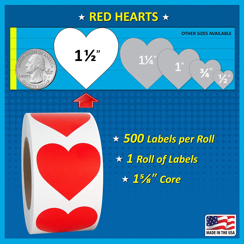 1000 per Roll.5 inch Gold Heart Shaped Sticker Labels 1//2 Diameter