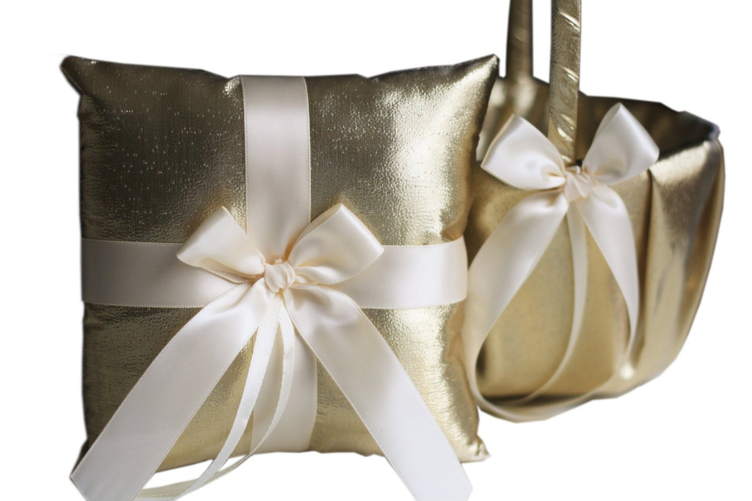 2 BASKETS & 1 PILLOW of Alex Emotions | Gold Collection | Gold Ivory Wedding Ring Pillow & Flower Girl Basket Set by Alex Emotions