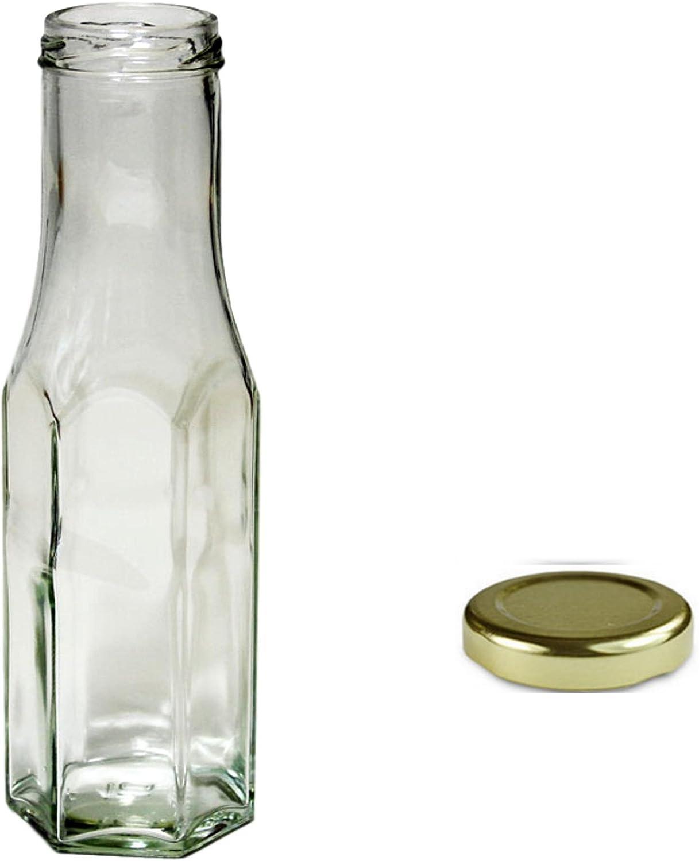 5x 250ml transparente hexagonal Salsa botellas con tapón de rosca dorado
