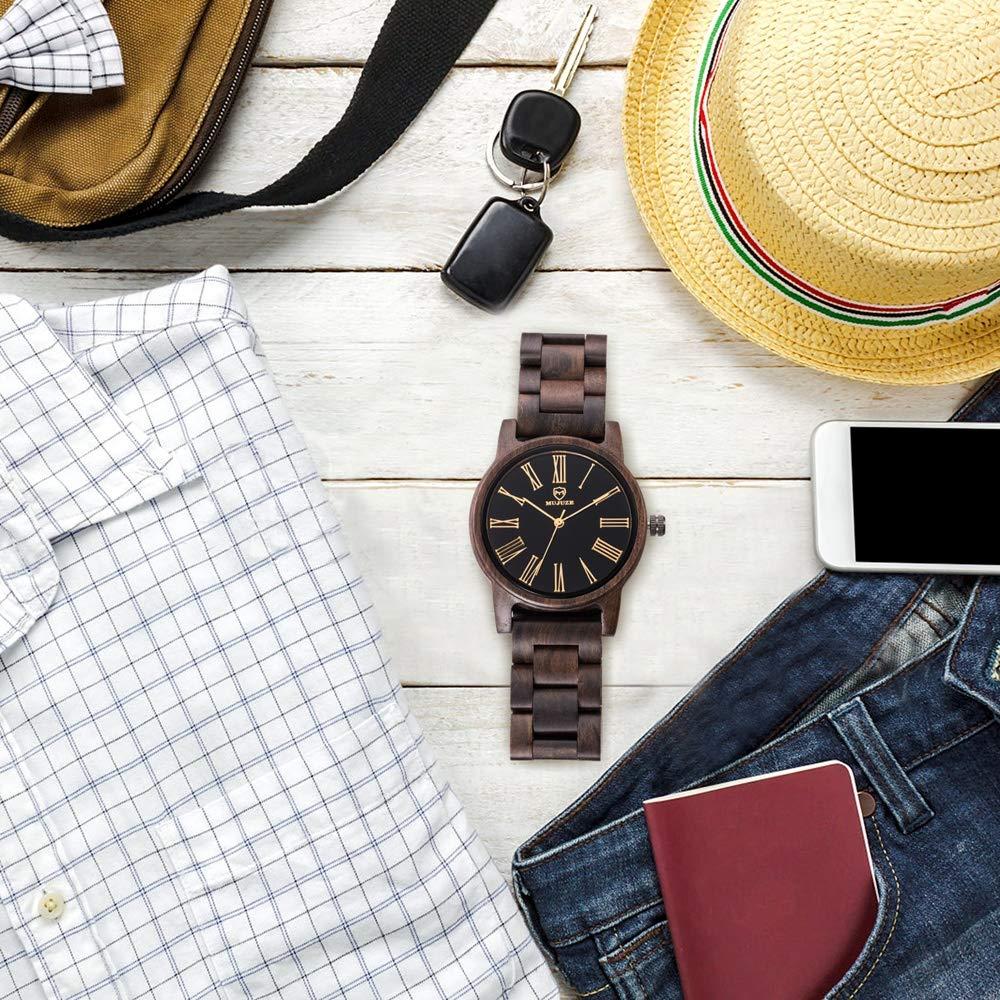 Klockor #handled herr exklusiv affärsklocka, vattentät kvartsklocka, importerat sandelträ, 10 meter vattentät, den bästa gåvan för vänner och familj dekoration (färg: A) c