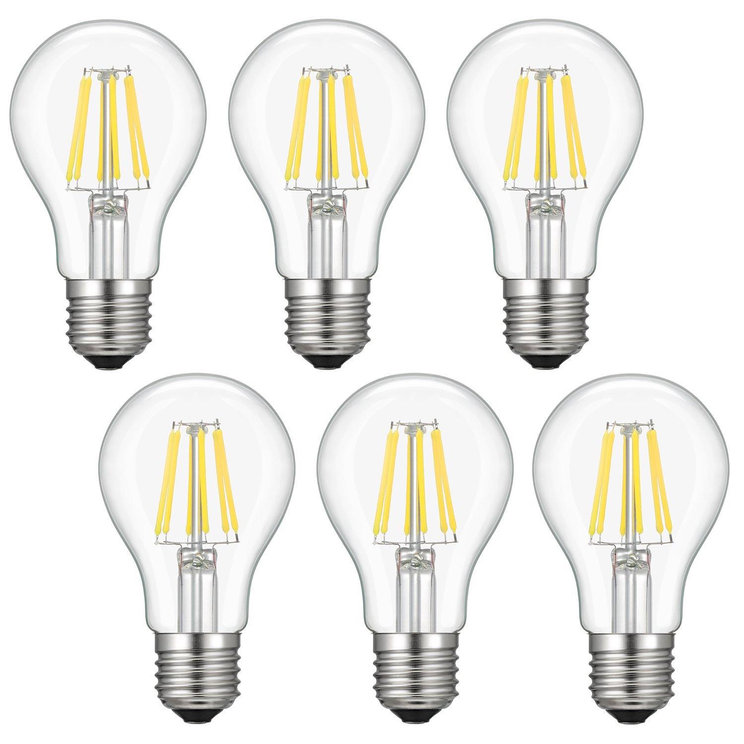 led edison bulb a19 kohree 6w vintage filament light 60w. Black Bedroom Furniture Sets. Home Design Ideas
