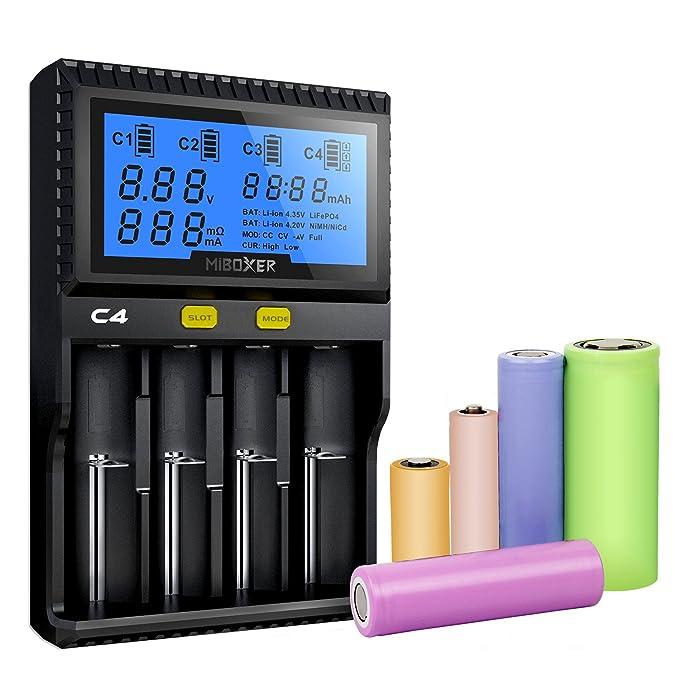 Amazon.com: Cargador de batería 18650, pantalla LCD MiBOXER ...