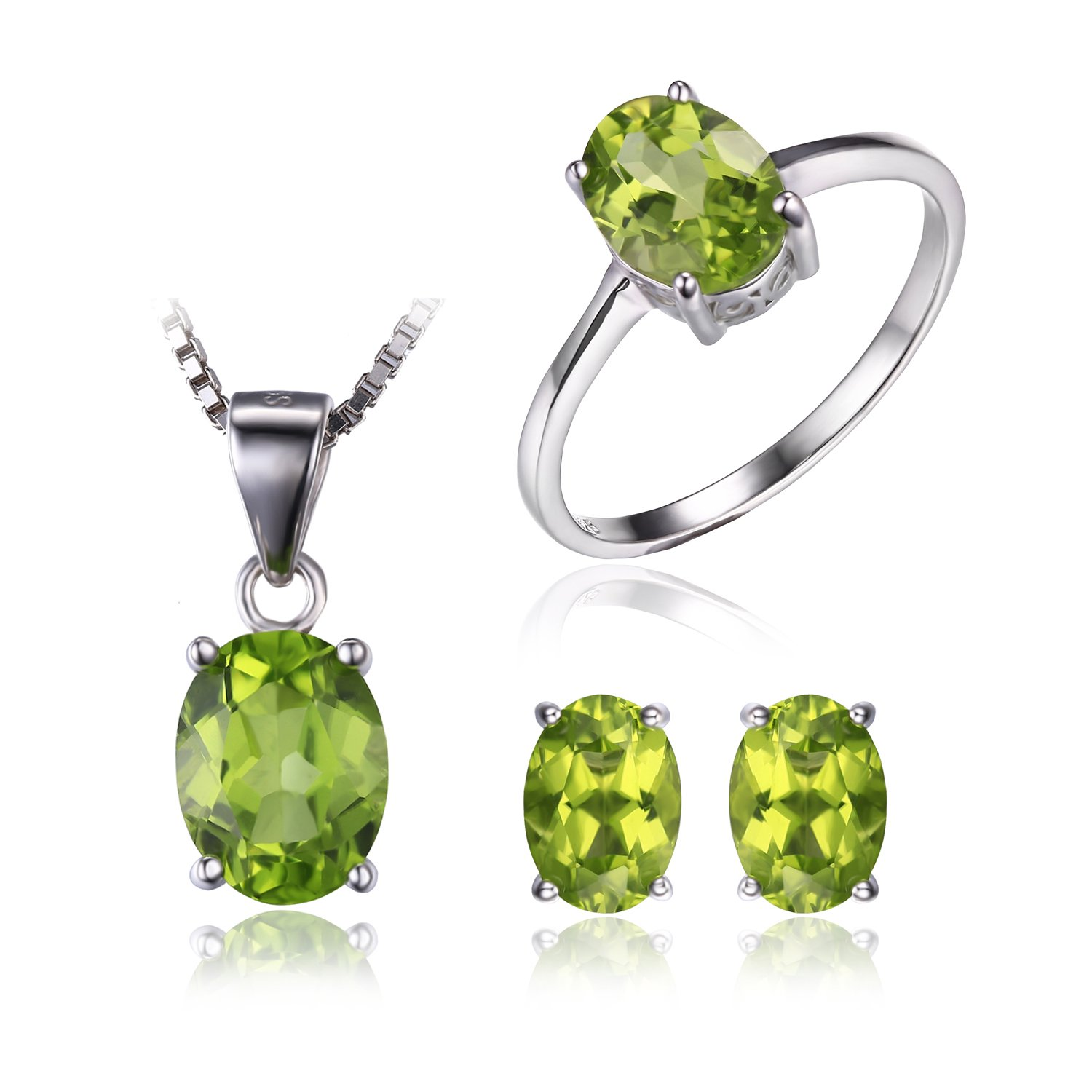 JewelryPalace Women's Oval 4.9ct Natural Green Peridot Birthstone Solitaire Jewelry Sets Ring Pendant Necklace Stud Earrings Genuine 925 Sterling Silver Size 7