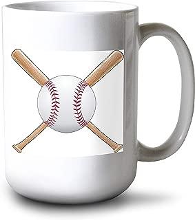 product image for Lantern Press Crossed Baseball Bats & Ball Illustration A-9014891 (15oz White Ceramic Mug)