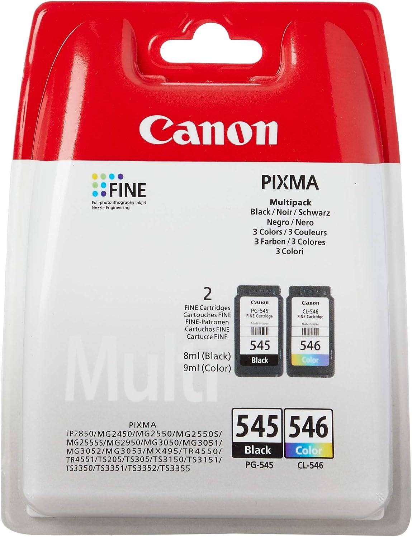Canon PG-545+CL-546 Cartucho Multipack de tinta original Negro y Tricolor para impresora de inyeccion de tinta Pixma