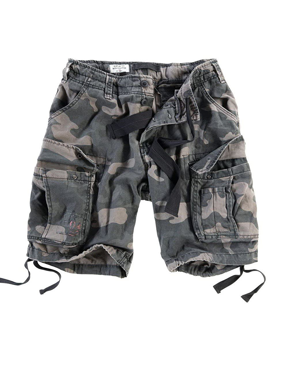 Surplus Men's Airborne Vintage Shorts Washed Night Camo
