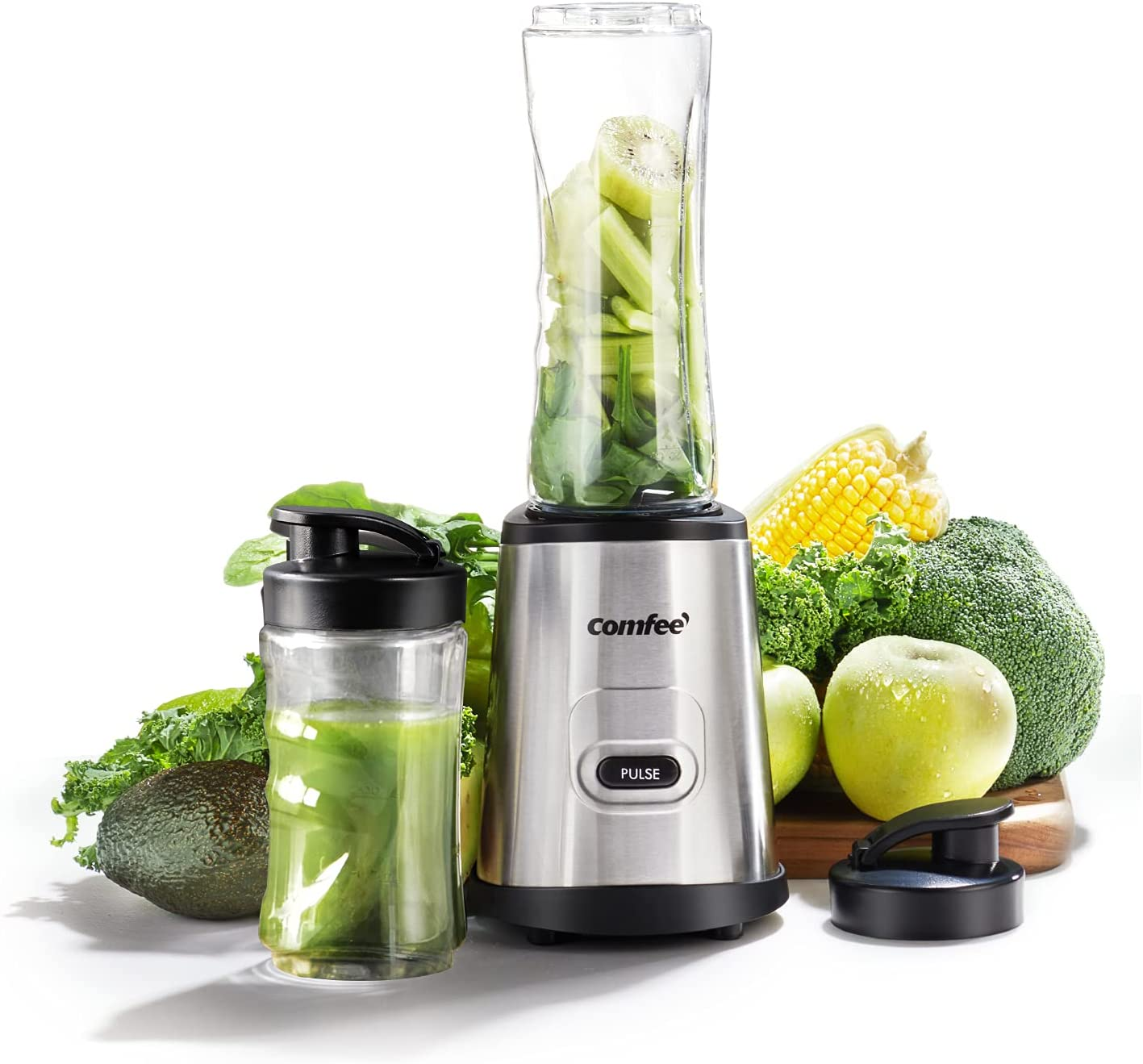 COMFEE' Compact Personal Blender, with Tritan BPA-Free 20 Oz and 10 Oz Travel Cups with Lids, for Shakes, Frozen Drinks, Smoothies, Food Prep, 300-Watt Base, Stainless Steel