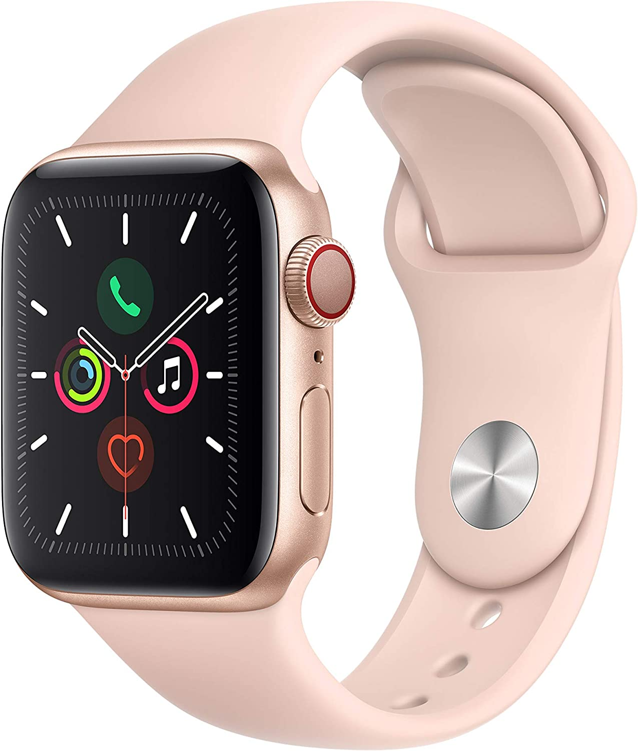 Apple Watch Series 5 (GPS + Cellular, 40 mm)  Aluminio en Oro - Correa Deportiva Rosa Arena