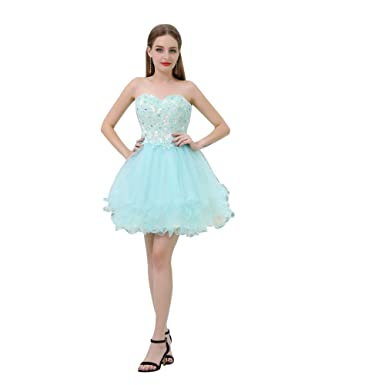 Brieey Womens Sweetheart Neck Tulle A Line Short Prom Dress - Blue - 6