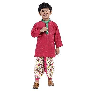 BownBee Boys Jaipuri Print Cambric Cotton Dhoti Kurta  Set