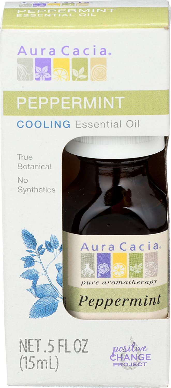 Aura Cacia Essential Peppermint Boxed Oil, 0.5 oz