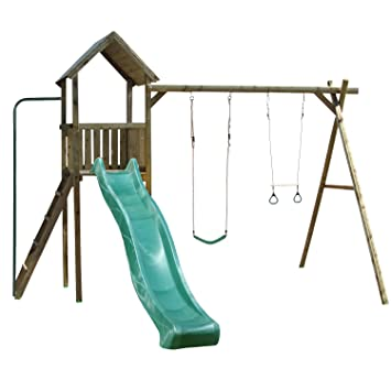 Childrens Acrobatic Wooden Garden Playhouse Swing Set with 3 Metre ...