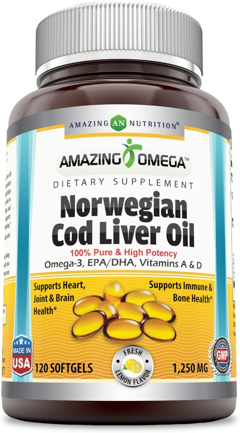 Amazing Omega Norwegian Cod Liver Oil - 1250 mg, 120 Softgels - Purest & Best Quality Cod Liver Oil, Extracted Under Strict Quality Standards from Around The Waters of Norway (Fresh Lemon Flavor)