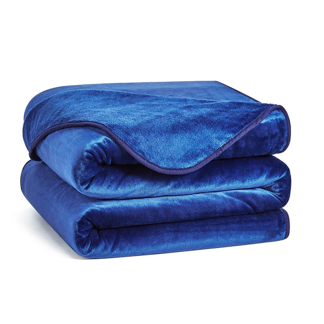 Charm Heart Luxury Fleece Blanket,Queen Size Lightweight Silky Super Soft Summer Cooling Cozy Flannel Warm Plush All-Season Anti-static Bed Couch Sofa Blanket(Queen,Dark Blue)