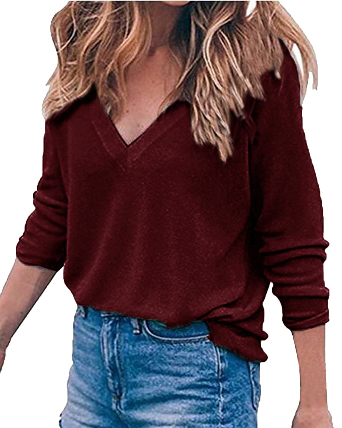 Auxo Women Long Sleeve Jumper V Neck Blouse Casual Loose Solid Pullover Sweater Knitwear Tunic T-Shirt Top
