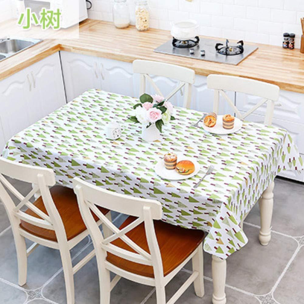 WJJYTX Wachstuch tischdecke, Abwischbare Tischdecke Rechteckige wasserdichte Tischdecke aus Vinyl-PVC für die Gartenküche Außen- oder Innentee Tischset Small Tree @ _130 * 140cm