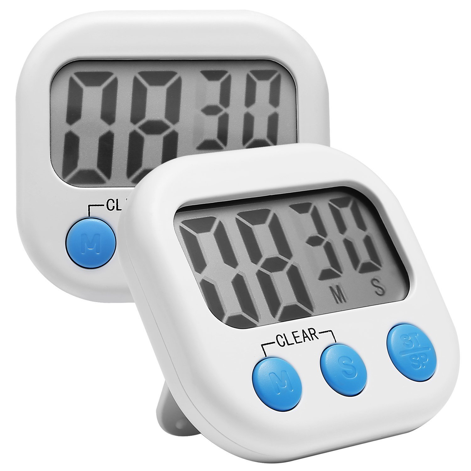 Digital Kitchen Timer, 2 Pack Comsun Cooking Timer Magnetic Loud Timer with Stand Large LCD Display White