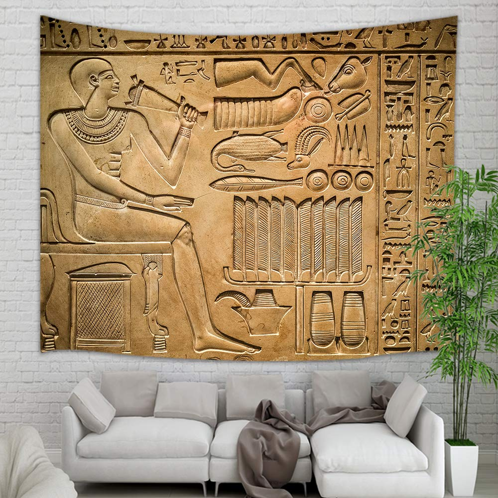 "Egyptian Tapestry Wall Hanging, Ancient Pharaoh with Hieroglyphs Wall Carpet Art for Home Decorations Student Dorm Decor Living Room Bedroom Bedspread TV Backdrop, Nail Included, 60""X40"" (Multi7)"