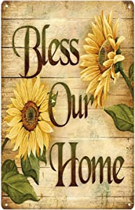 SIGNSHM Bless Our Sunflower Retro Metal Tin Sign Plaque Poster Wall Decor Art Shabby Chic Gift Suitable for Indoor/Outdoor 12x8 Inch