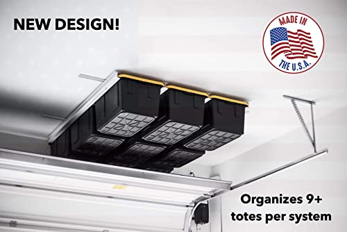 Overhead Garage Storage Rack – Organize Up to 13 Bin Totes on The Ceiling