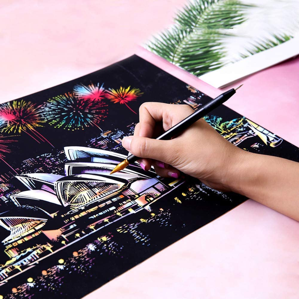 Magic Rainbow Scrape Painting Paper with Drawing Stick,Satrwak Scratch Off Craft Kits for City Night Scene /& World Historical Sites,Kids Adults Art Educational Stress Relief Toys Taj Mahal