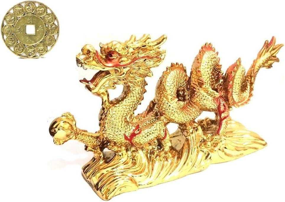 Feng Shui Large Gold Chinese Dragon Figurine Statue for Luck & Success 8.5 inch Long with Lucky Zodiac Coin