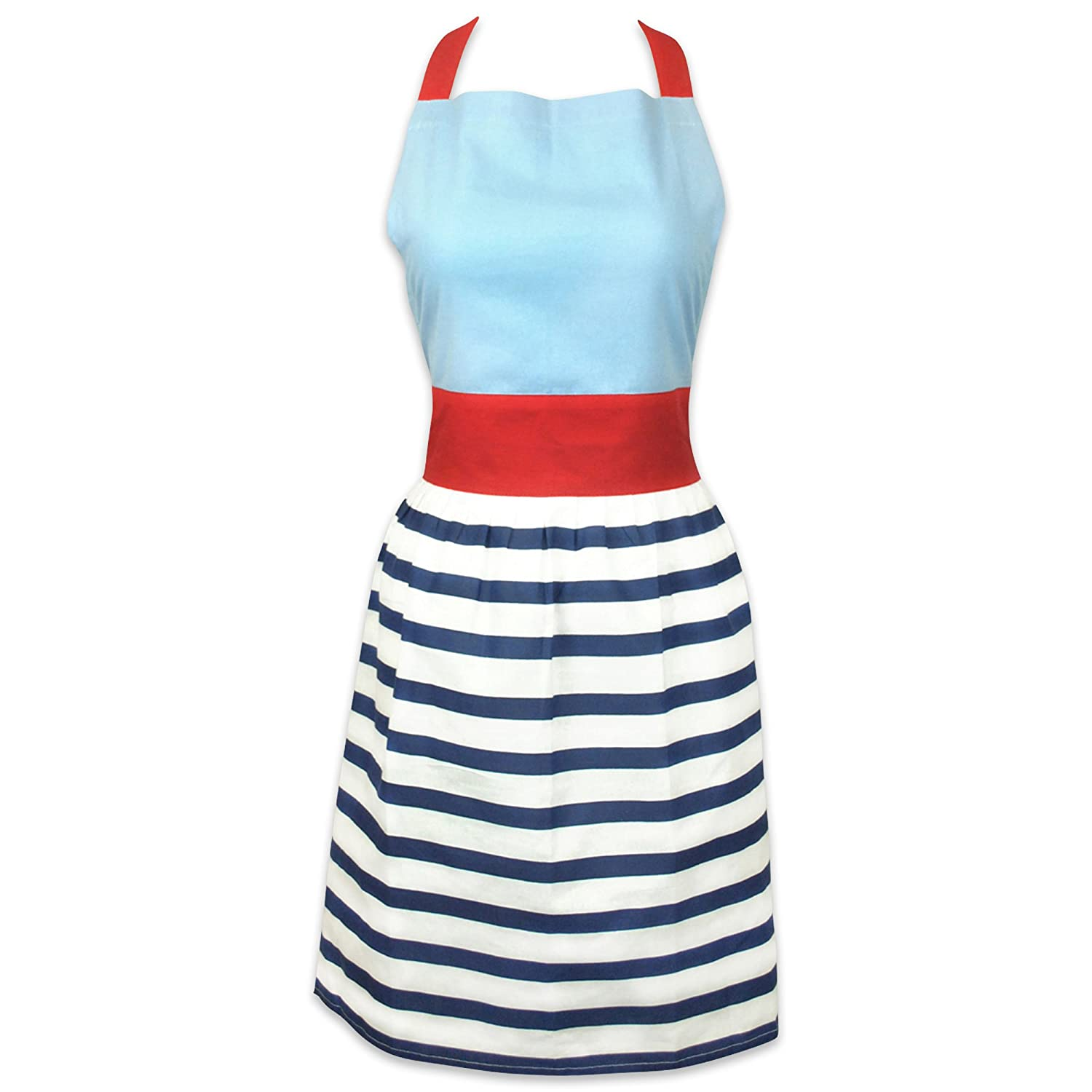 DII 100% Cotton, Fashion Kitchen Women Apron, Skirt Dress Design, Extra-Long Neck & Waist Ties, Embroidery Area available, Perfect for Cooking, Baking, Crafting-Chevron CAMZ34833