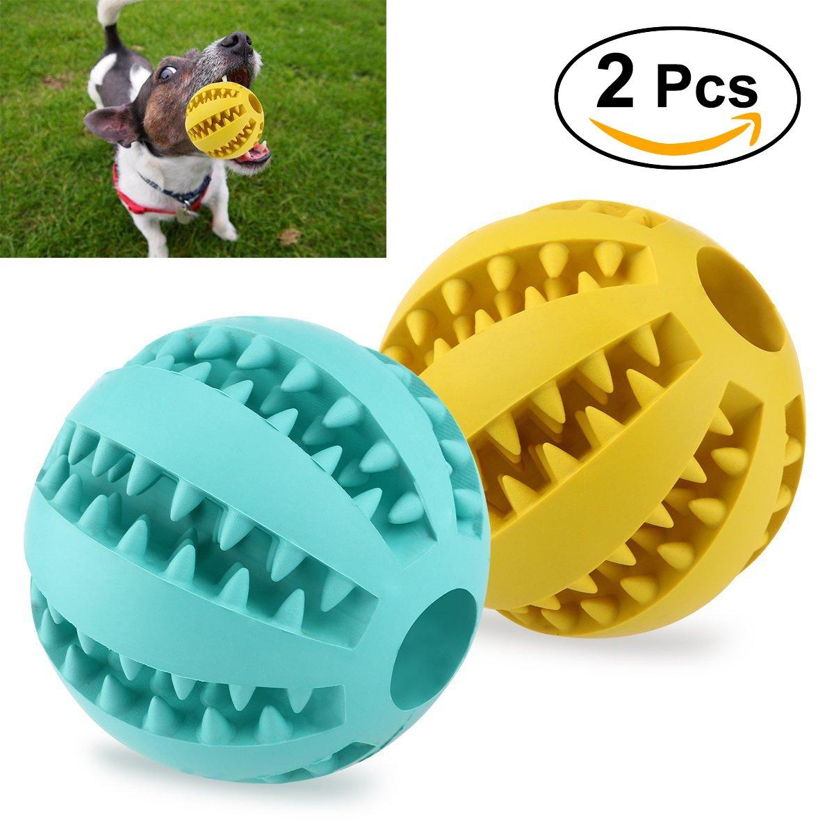 UEETEK 2pcs Juguete de goma masticar mascotas, Squeaker Squeeze Pet Ball juguetes, bola interactiva
