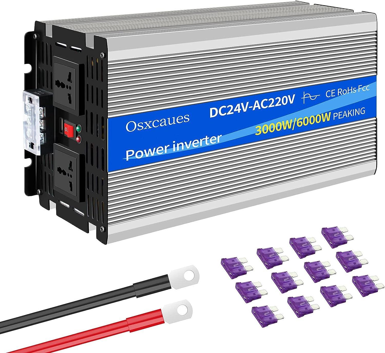 3000W Inversor de Onda Sinusoidal Pura DC 24V a AC 220V 230V Conversor con Toma de Corriente AC Puerto USB Ventilador de refrigeración para Barco Coche
