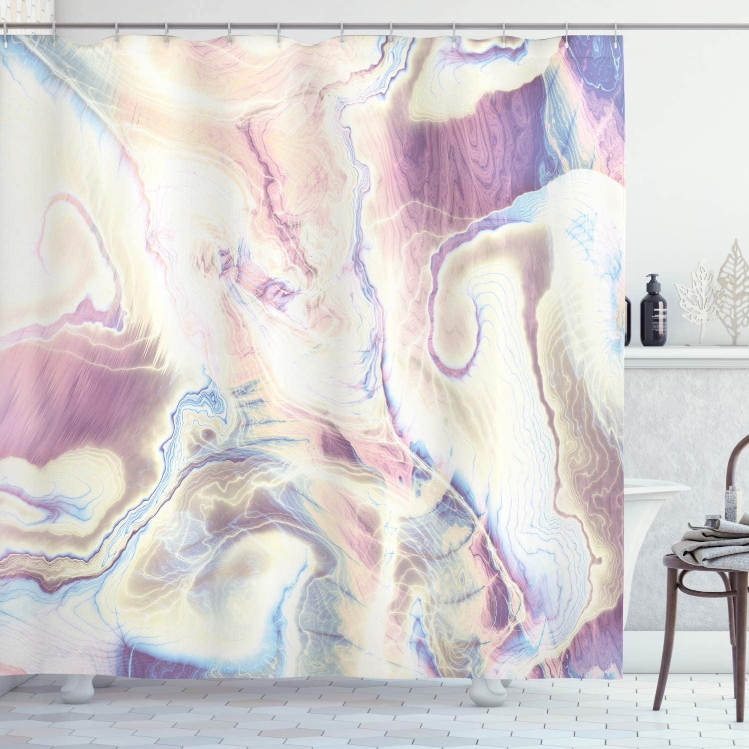 """Ambesonne Marble Shower Curtain, Vintage Antique Ottoman Art Forms with Faded Blurry Colors Picture, Cloth Fabric Bathroom Decor Set with Hooks, 70"""" Long, Rose Blue"""