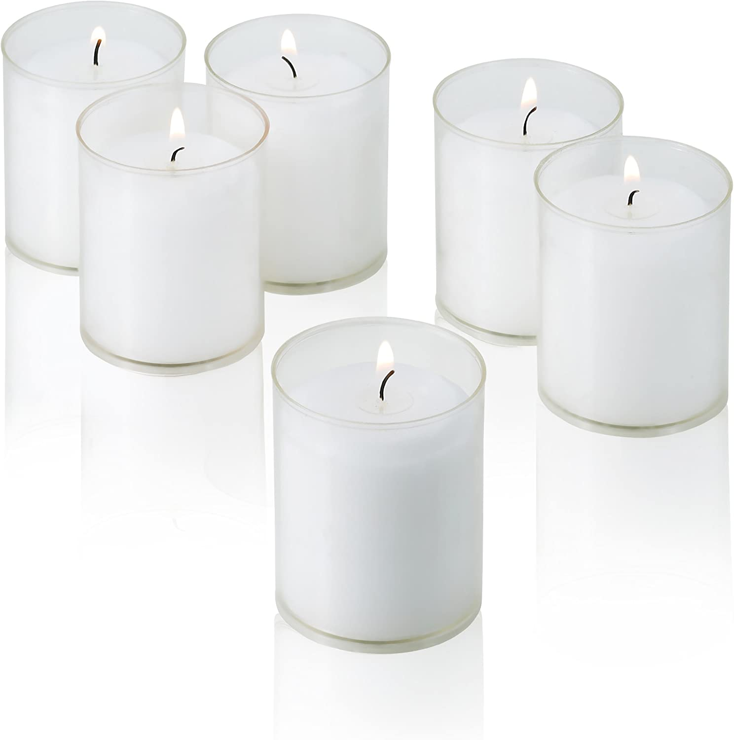 White Votive Candles In Clear Cups Burn 24 Hour Set Of 24 Unscented By Light In The Dark Amazon Co Uk Kitchen Home