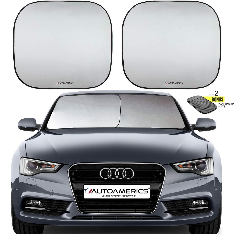 Autoamerics Windshield Sun Shade - 2 Pieces of Foldable 28'x32' Car Front Window Sunshade - Heat Reflector - Universal Fit Sun Blocker Visor Protector - Blocks Max UV Rays and Keeps Your Vehicle Cool