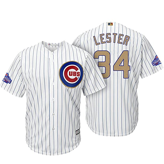 d370a0cfe ... ireland jon lester chicago cubs white cool base home gold program replica  jersey large 14 17d61