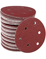 100Pcs 12.5cm/ 5Inch Sanding Discs Sandpaper Hook and Loop Pads Orbital Sander 6 Holes Round Shape 40/60/ 80 Assorted Grits Sanding Sheets Replacement