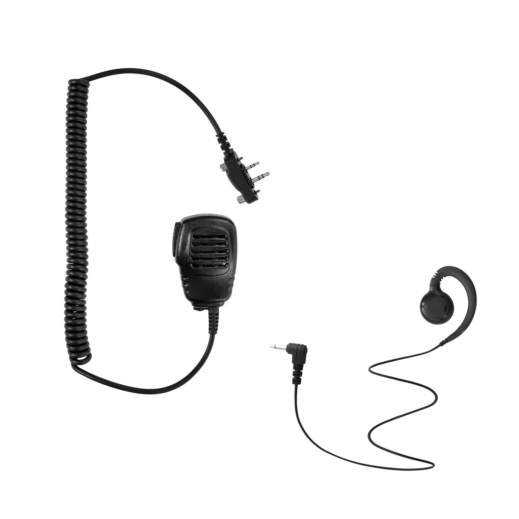 Maxtop APM100ARP3000-I2 Light Duty Shoulder Speaker Microphone + Swivel Listen Only Earpiece for ICOM