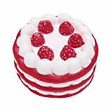 FEESHOW 4.6 Inch Jumbo Slow Rising Scented Squishy Strawberry Cake Squeeze Toy
