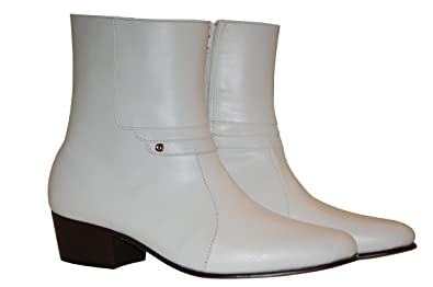 5e0c63fdef4f Luciano White Leather Boots with Cuban Heels (6W)