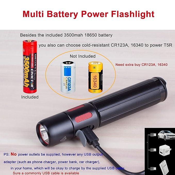 USB Linterna Recargable Potente Linterna Tactica Militar grado 1000 Lumens - con batería Linternas led alta potencia Linterna 18650 CR123A Linternas Led ...