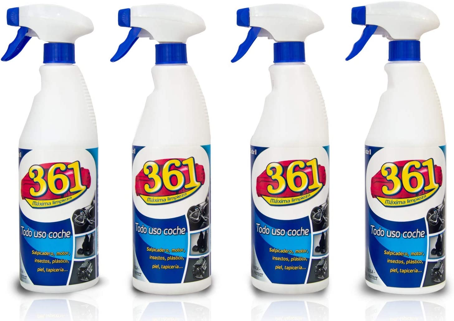 Sisbrill 361 Todo Uso Coche - Limpiador Interior y Exterior del Vehículo - Tapicería, Salpicadero, Cuero, Mosquitos - 750 ml (Pack 4 Unidades 361)