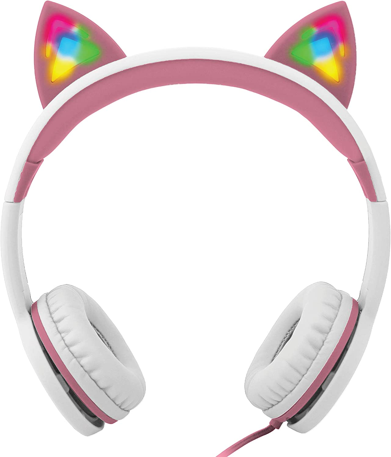 Discount Gabba Goods Premium Kid's/Children's Safe Sound LED Light Up in The Dark Unicorn Over The Ear Comfort Padded Stereo Headphones with AUX Cable | Earphones - 85 Decibels Pink MDtKkI1