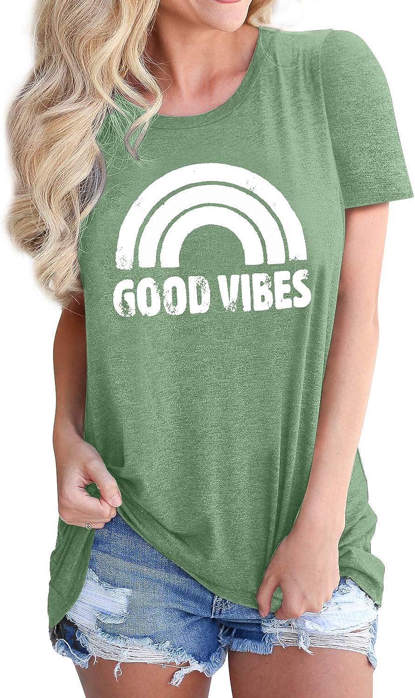 Dresswel Good Vibes T-Shirt Femme Arc-en-Ciel Imprim/é Tee Shirt Manches Courtes Col Rond Chemise Haut Tops
