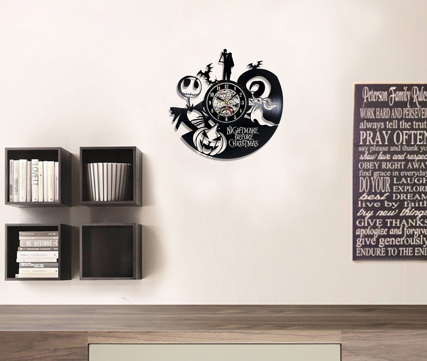 Amazon.com: The Nightmare Before Christmas Vinyl Record Wall Clock ...