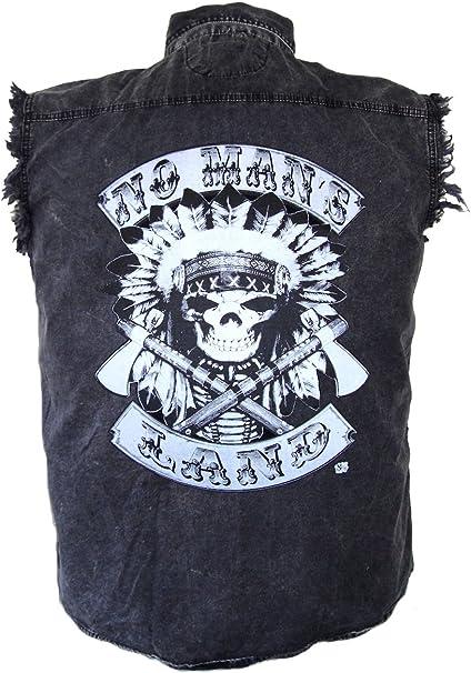 Mens Acid Washed POW-MIA Classic Denim Sleeveless Cutoff Biker Shirt