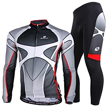 510b7fc7a NUCKILY Men s Fasion Winter Thermal Fleece Cycling Jersey With Tights Suit  XX-Large