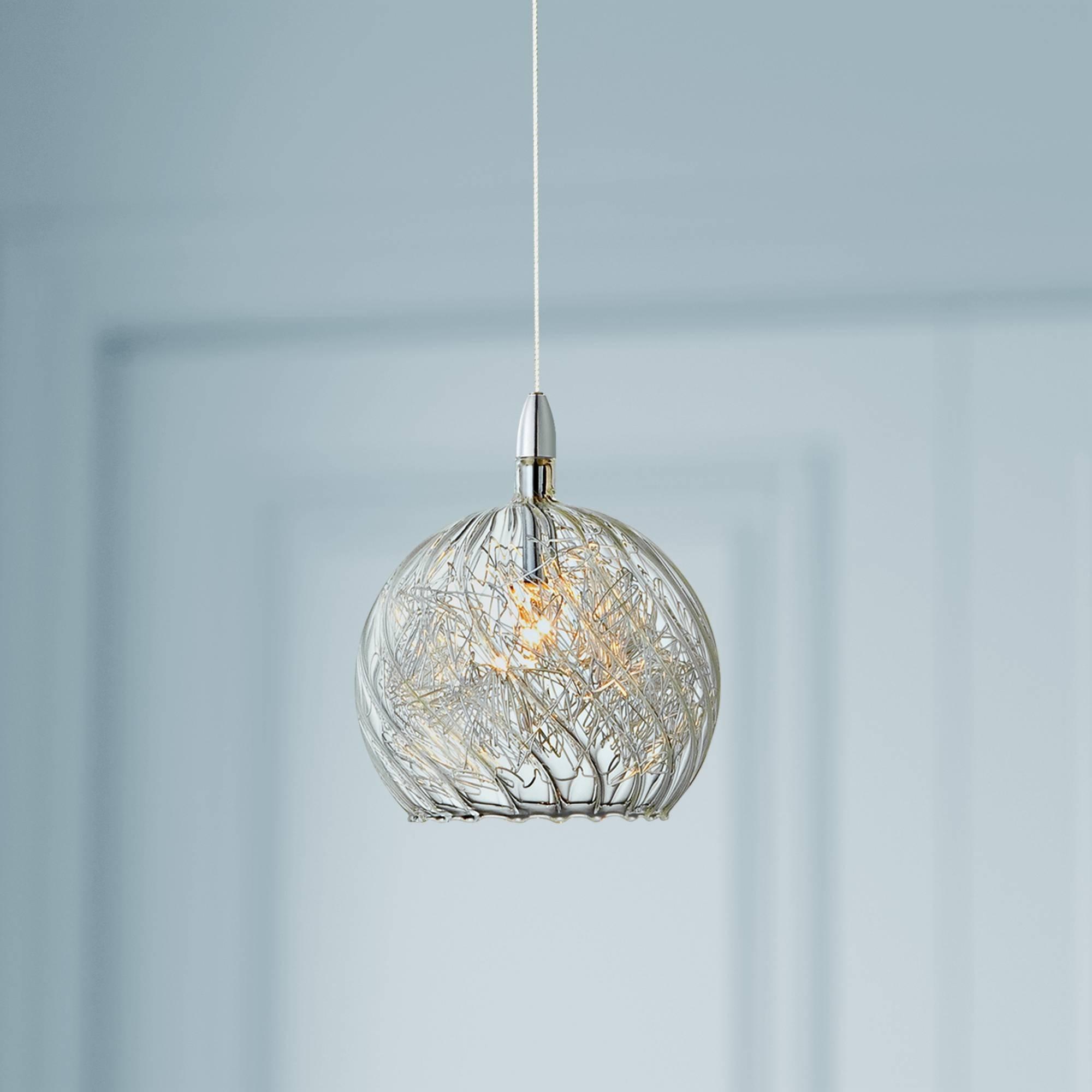 Possini Euro 4 1/2'' Wide Swirl Wire Glass Mini Pendant Light - Possini Euro Design