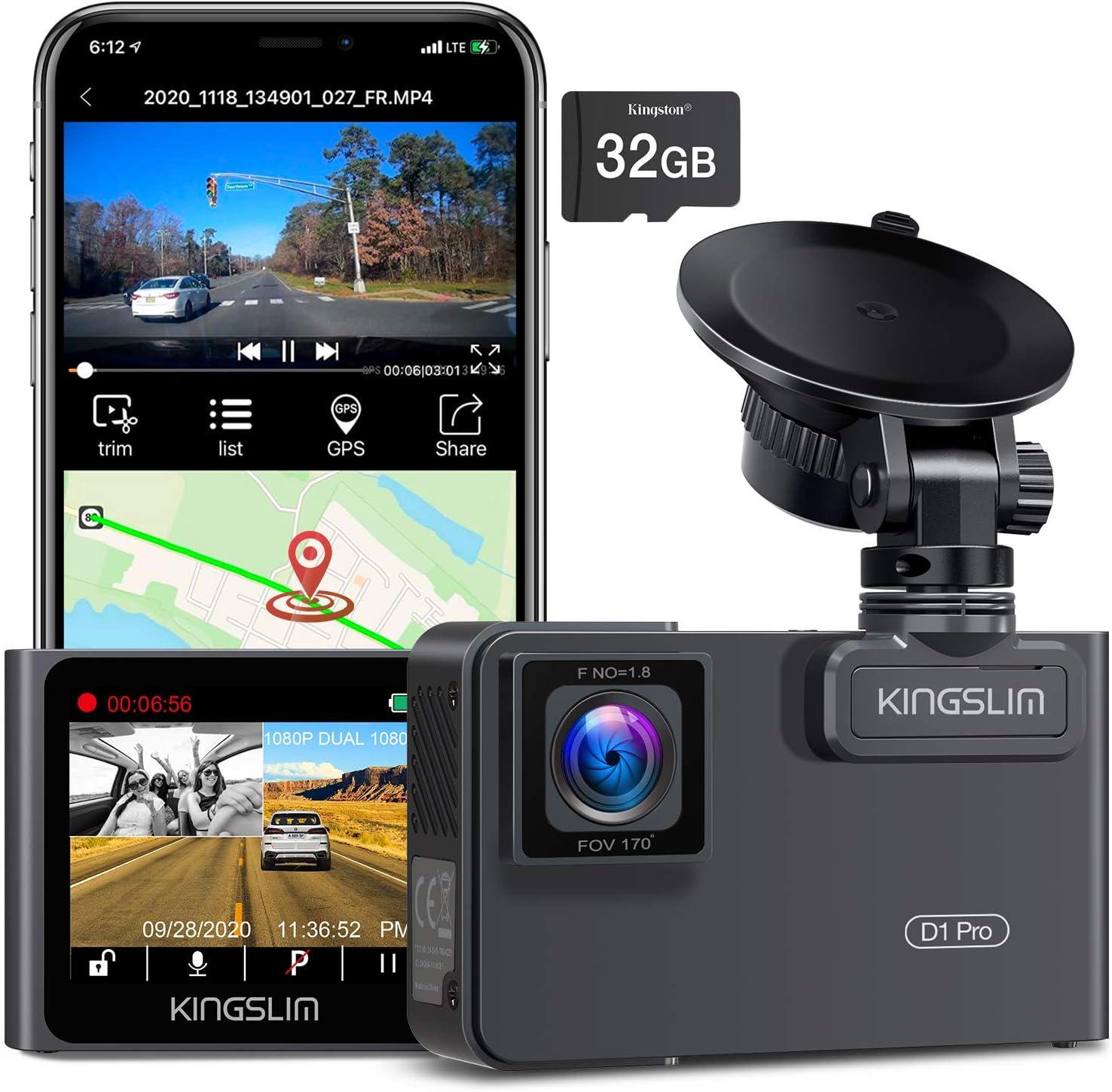 Kingslim D1 Pro Dual Dash Cam with Wi-Fi GPS