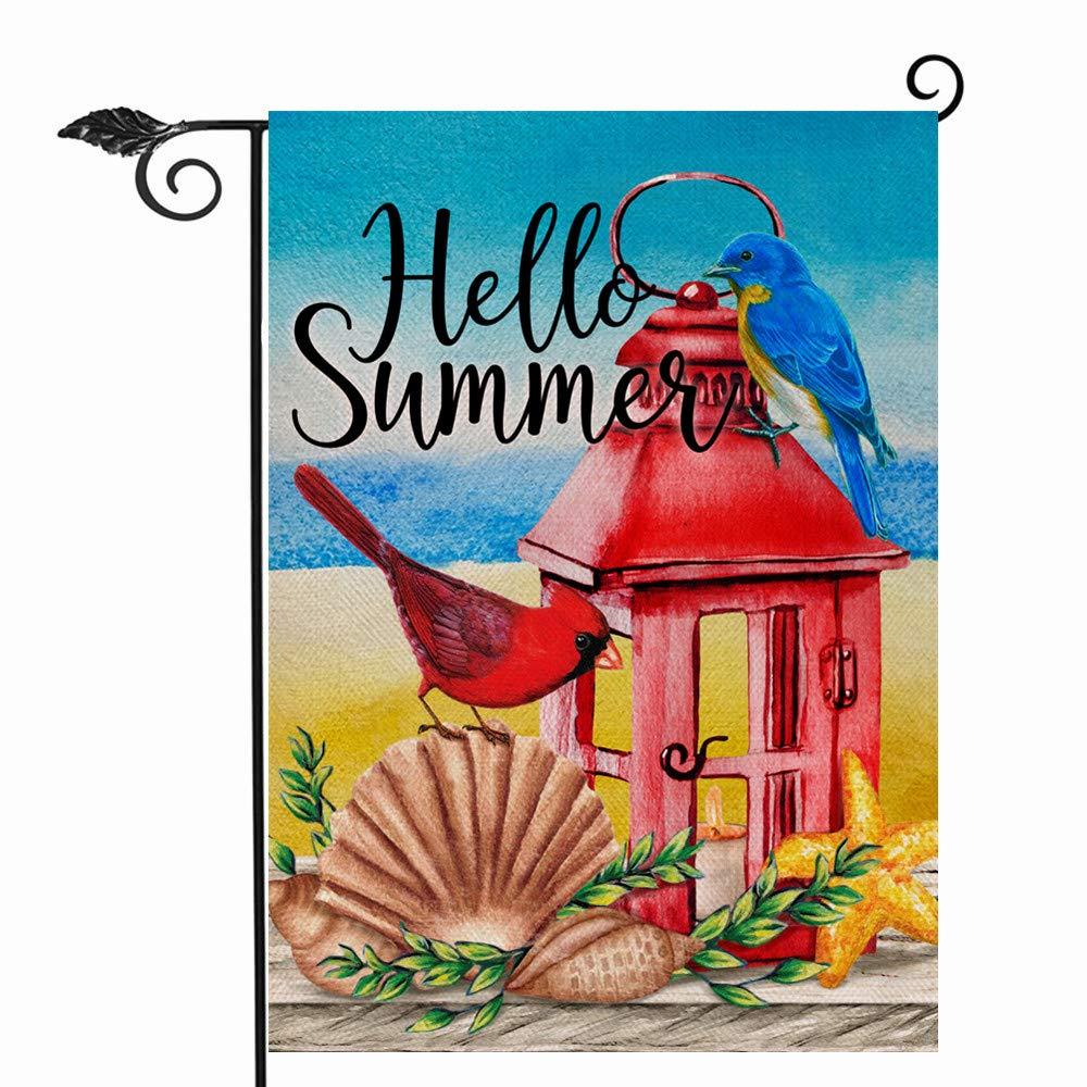 Hzppyz Hello Summer Cardinal Garden Flag Double Sided, Red Bird Lantern Beach Decorative House Yard Outdoor Small Flag Coastal Shell Starfish Decor Nautical Sea Tropical Home Outside Decoration 12x18